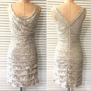 Express Dress Size 2 Sleeveless Lace Ruched Beige